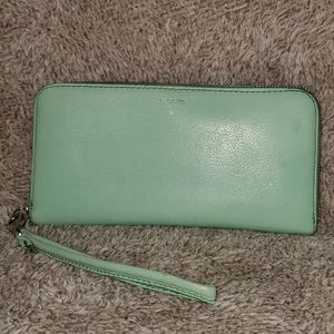 Light Green Leather Fossil Wallet